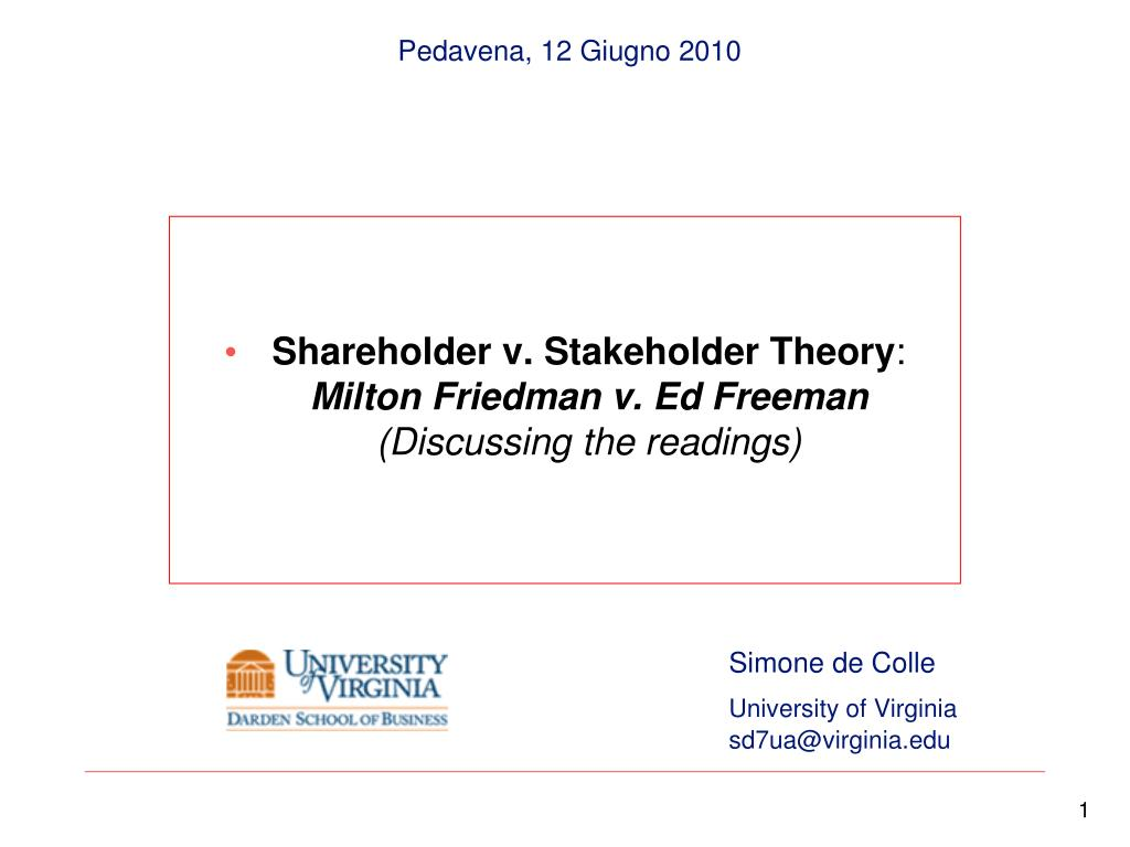 shareholder and stakeholder theory Stakeholder theory suggests that the purpose of a business is to create as much value as possible for stakeholders in order to succeed and be sustainable over time, executives must keep the interests of customers, suppliers, employees, communities and shareholders aligned and.