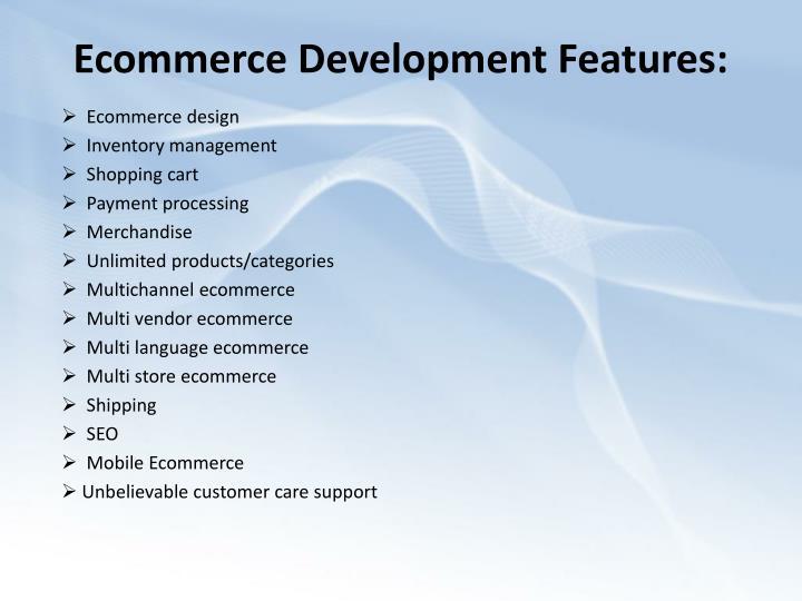 Ecommerce development features