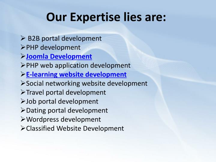 Our expertise lies are