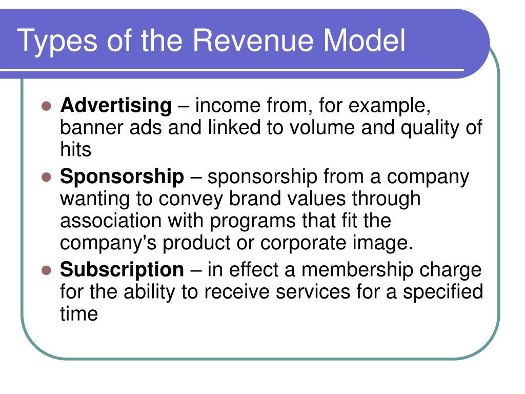 Types of the Revenue Model