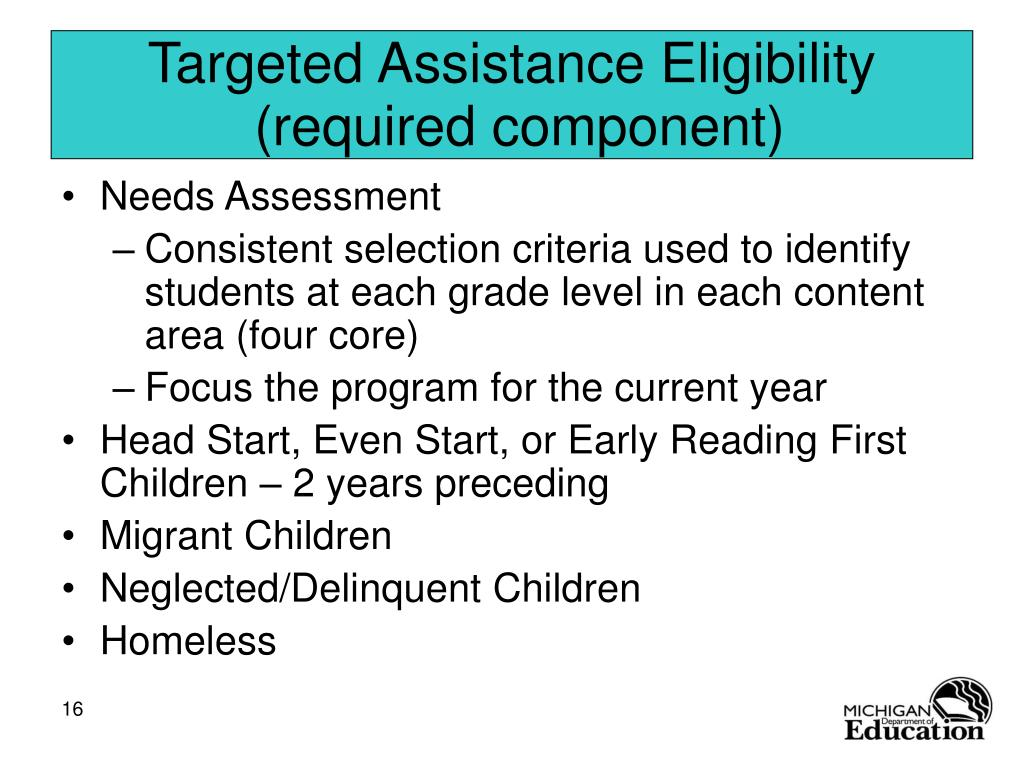 Targeted Assistance Eligibility