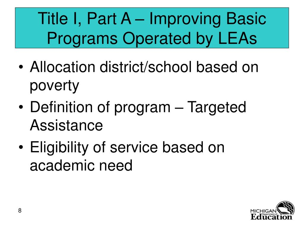 Title I, Part A – Improving Basic Programs Operated by LEAs