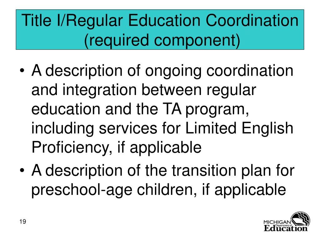 Title I/Regular Education Coordination