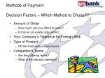 methods of payment decision factors which method to chose