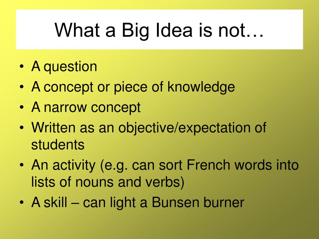 What a Big Idea is not…