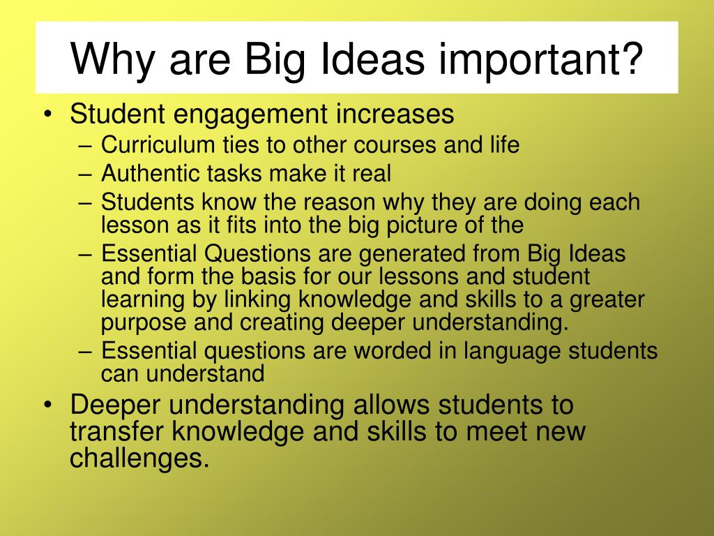 Why are Big Ideas important?