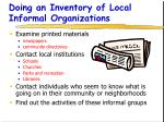 doing an inventory of local informal organizations