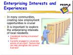 enterprising interests and experiences