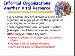 informal organizations another vital resource