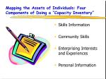 mapping the assets of individuals four components of doing a capacity inventory