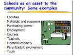 schools as an asset to the community some examples