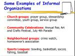 some examples of informal organizations