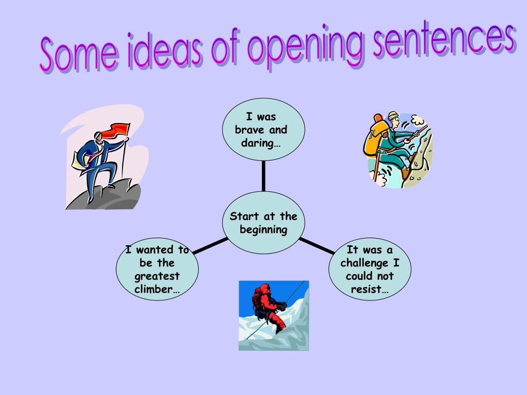 Some ideas of opening sentences
