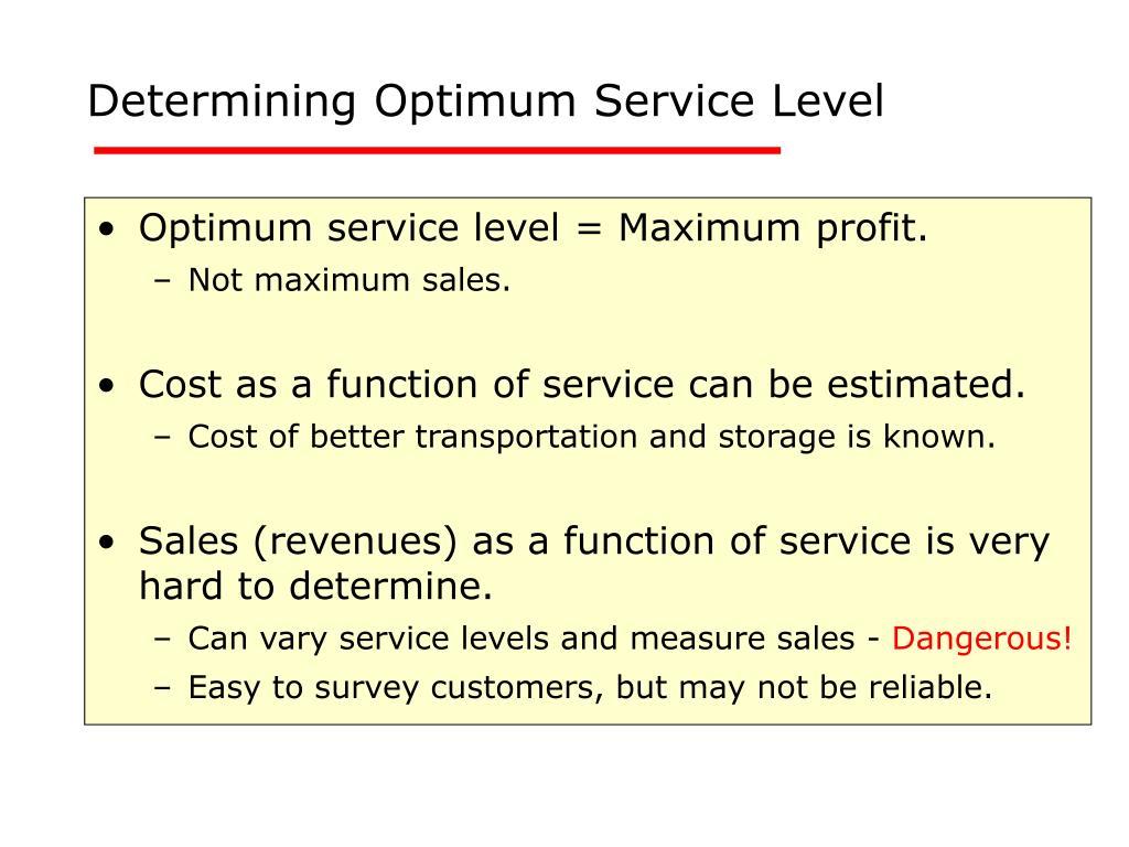 Determining Optimum Service Level