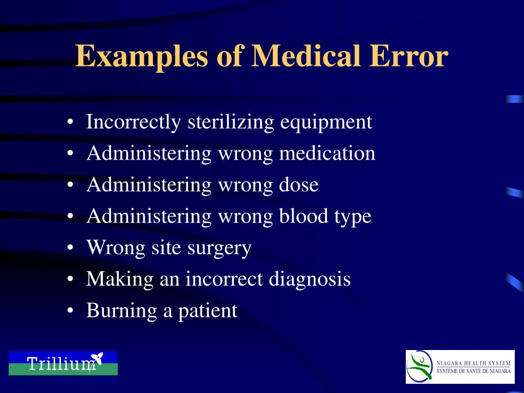 Examples of Medical Error
