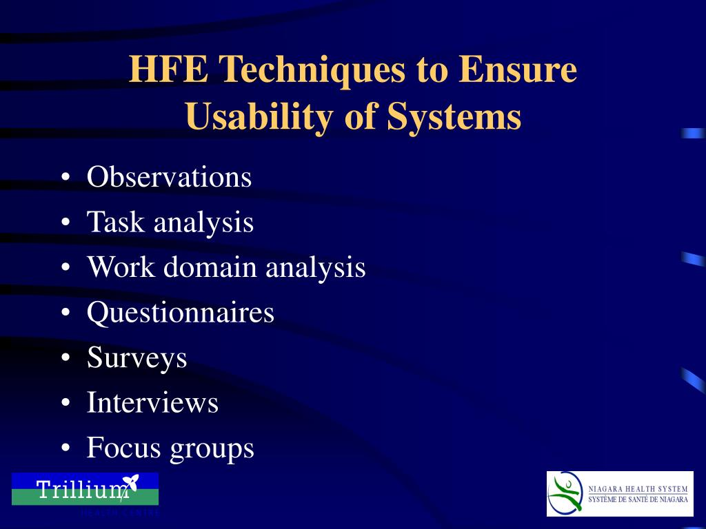 HFE Techniques to Ensure Usability of Systems