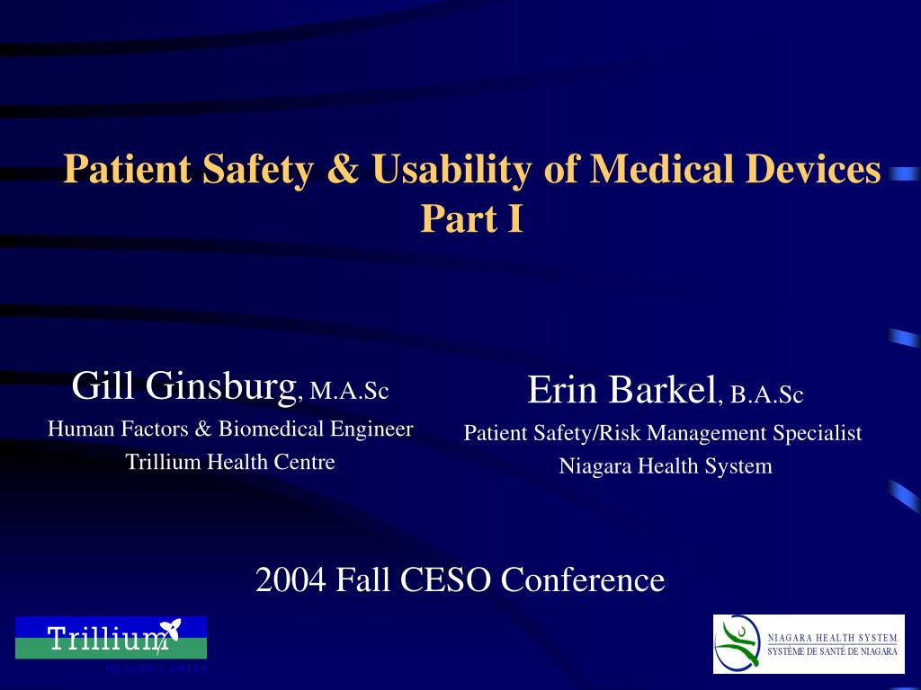 Patient Safety & Usability of Medical Devices