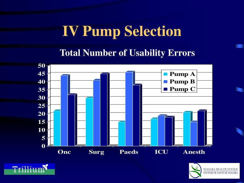 IV Pump Selection