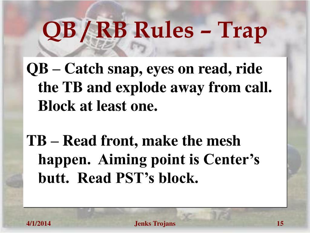 QB / RB Rules – Trap