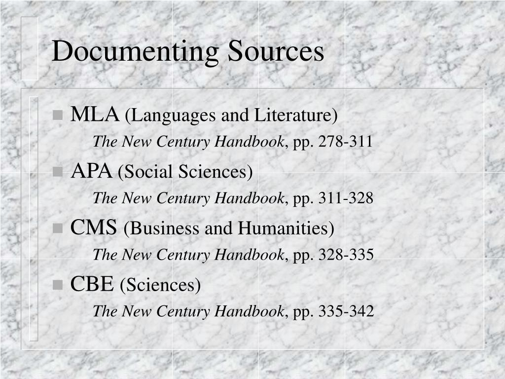 Documenting Sources