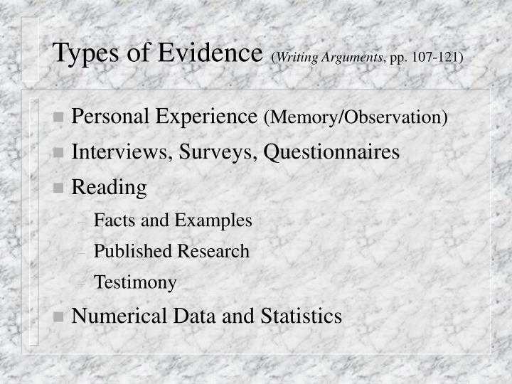 Types of evidence writing arguments pp 107 121