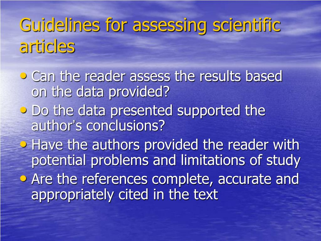 Guidelines for assessing scientific articles