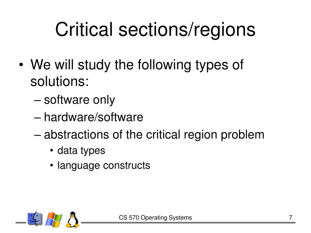 Critical sections/regions
