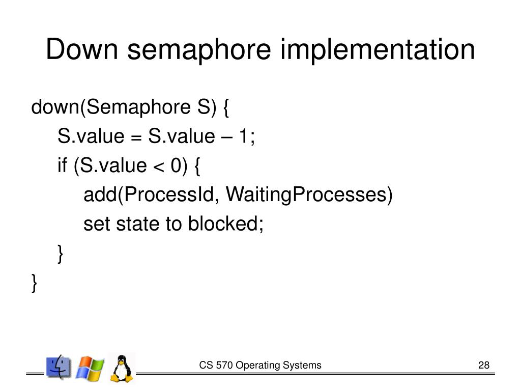 Down semaphore implementation