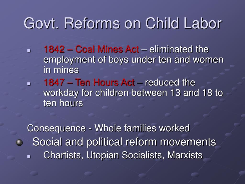 Govt. Reforms on Child Labor
