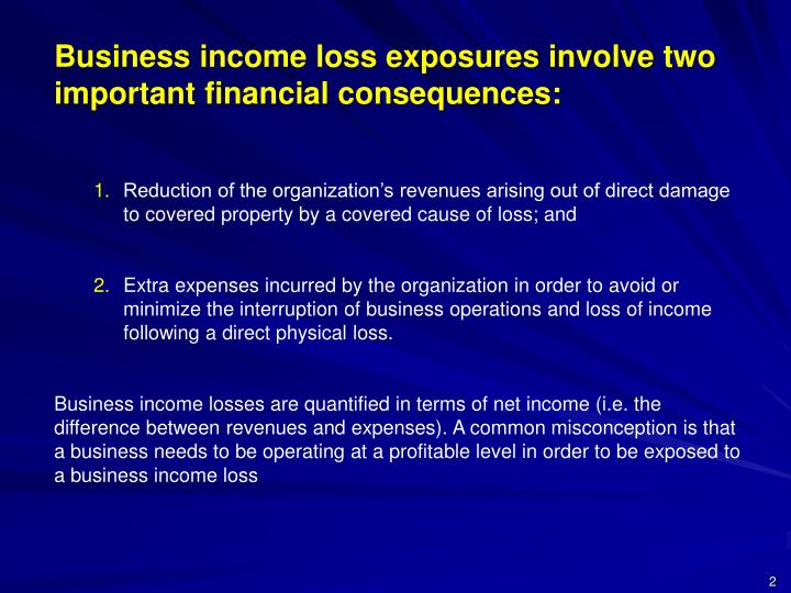 Business income loss exposures involve two important financial consequences:
