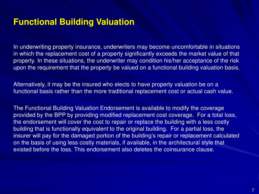 Functional Building Valuation