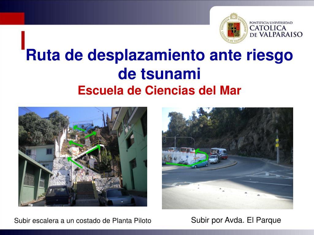 Ruta de desplazamiento ante riesgo de tsunami