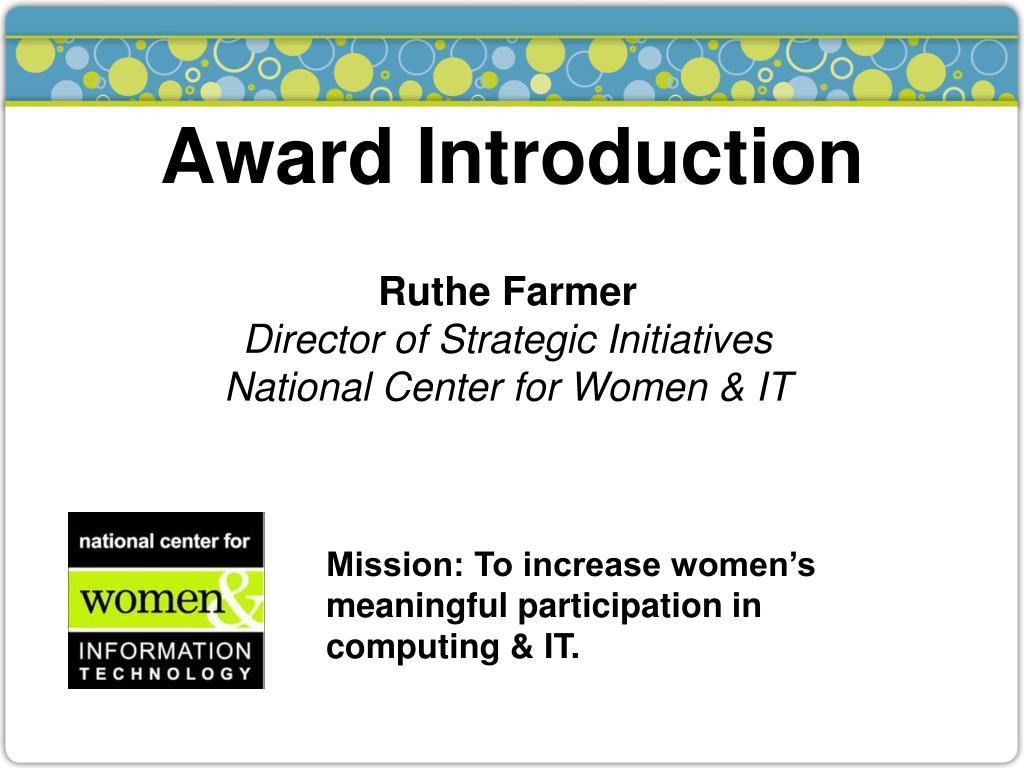 Award Introduction