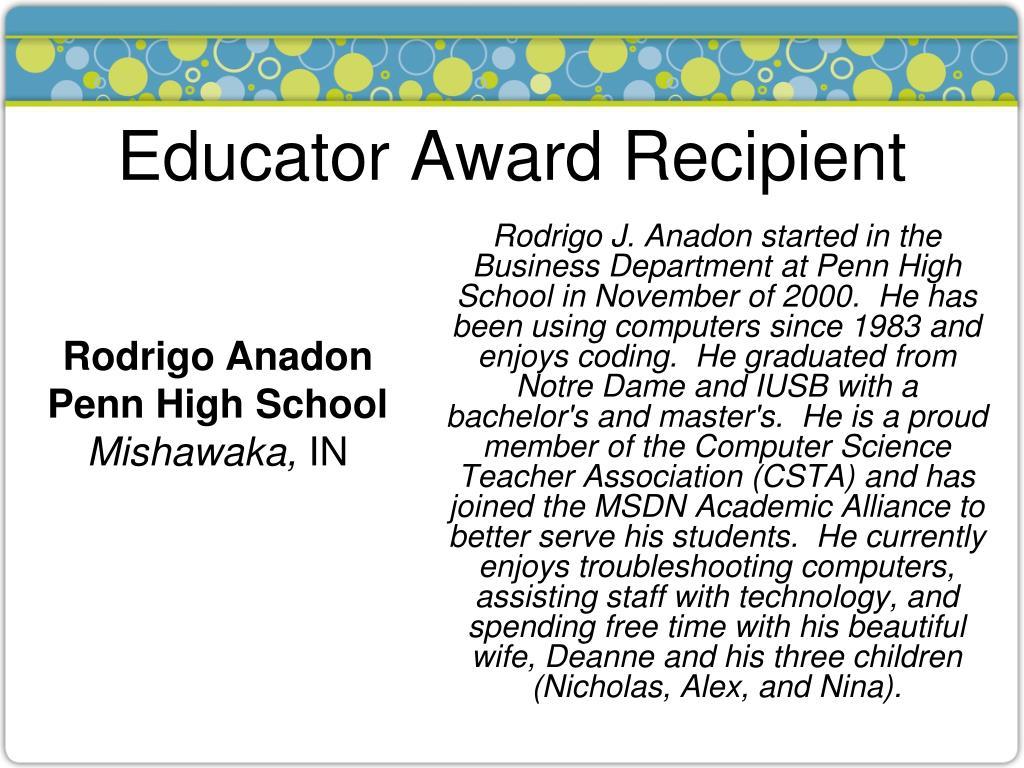 Educator Award Recipient