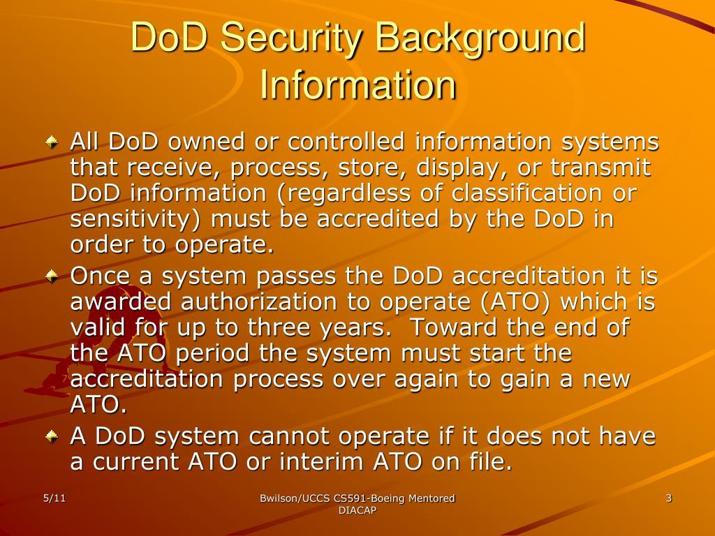 DoD Security Background Information