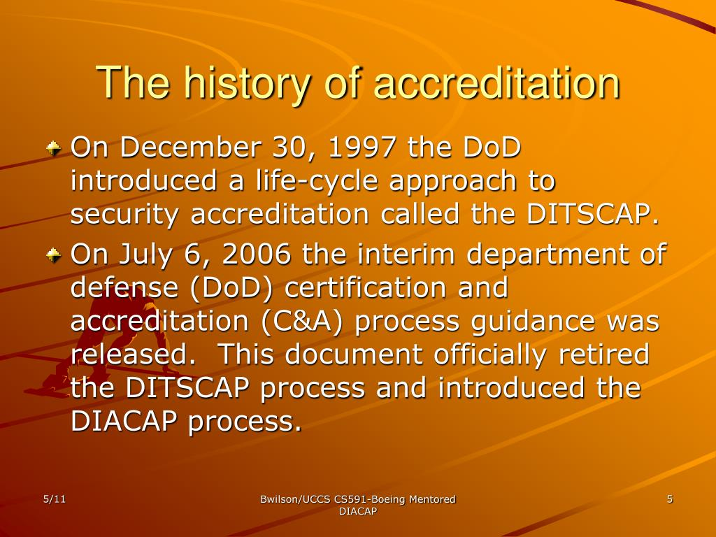 The history of accreditation