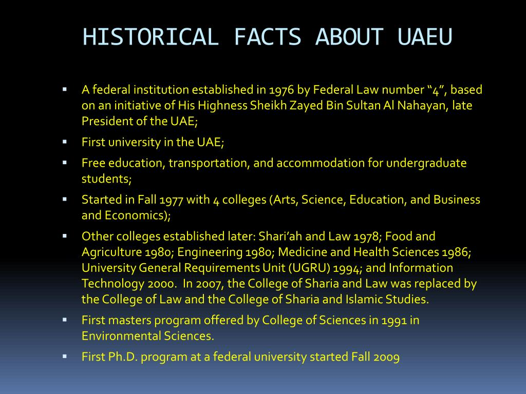 HISTORICAL FACTS ABOUT UAEU