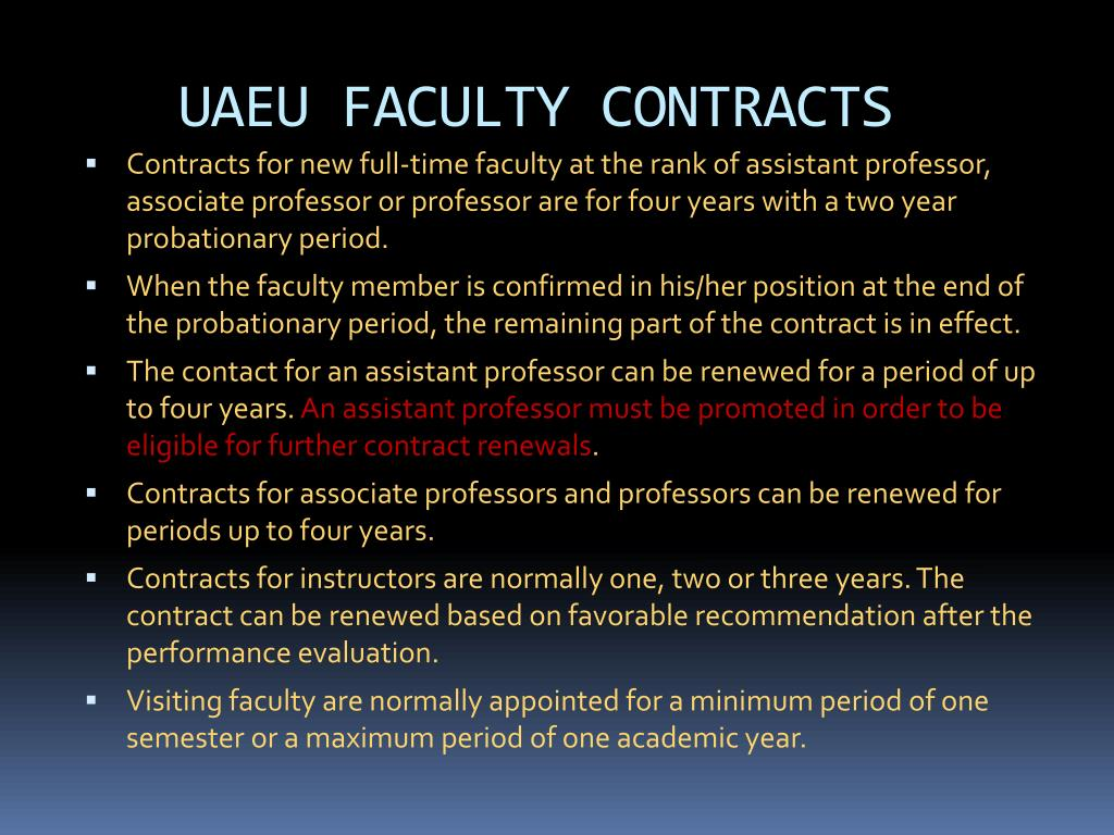 UAEU FACULTY CONTRACTS