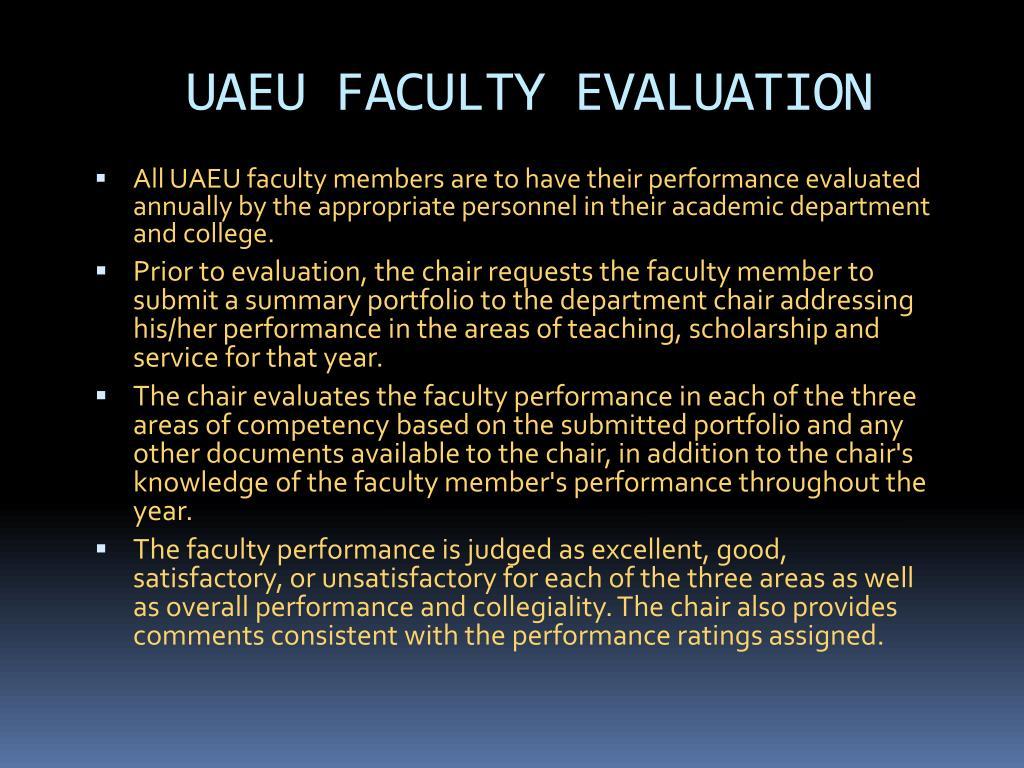 UAEU FACULTY EVALUATION