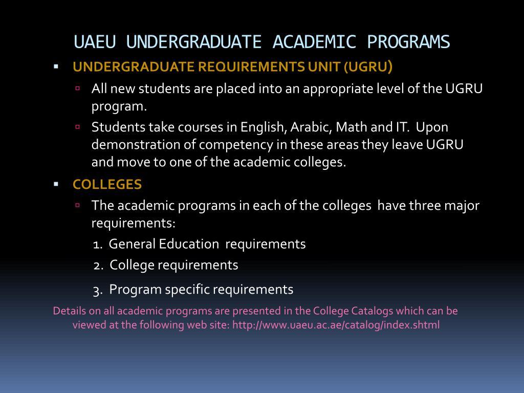 UAEU UNDERGRADUATE ACADEMIC PROGRAMS