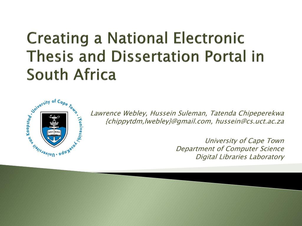 Creating a National Electronic Thesis and Dissertation Portal in South Africa