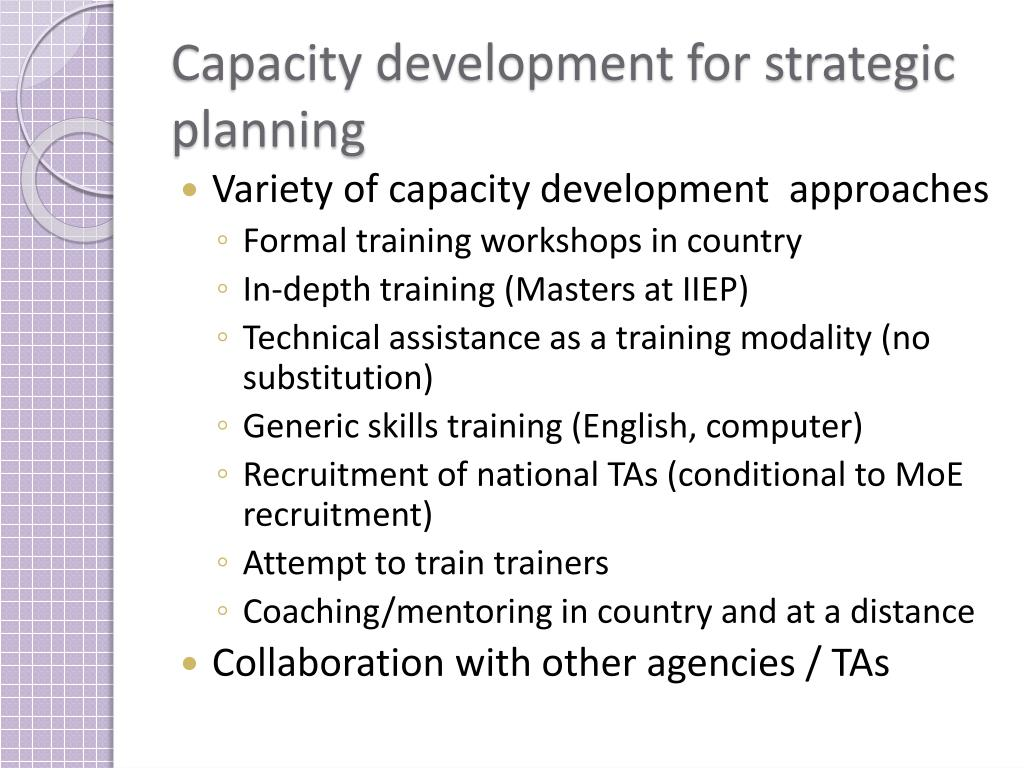 Capacity development for strategic planning