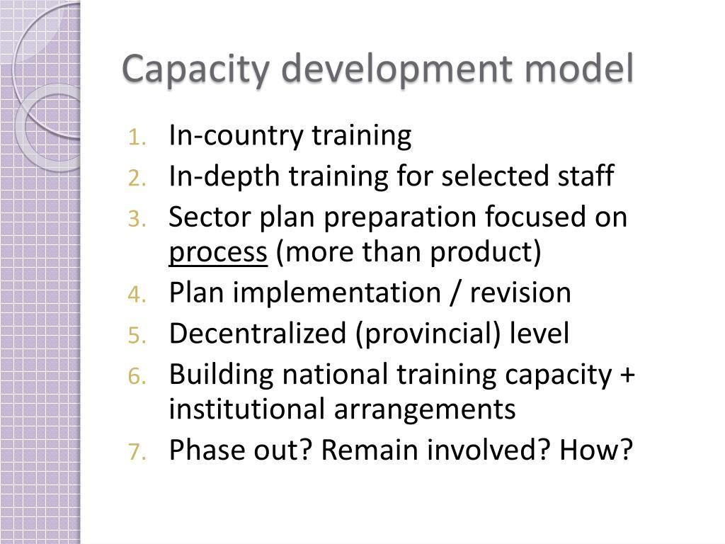 Capacity development model