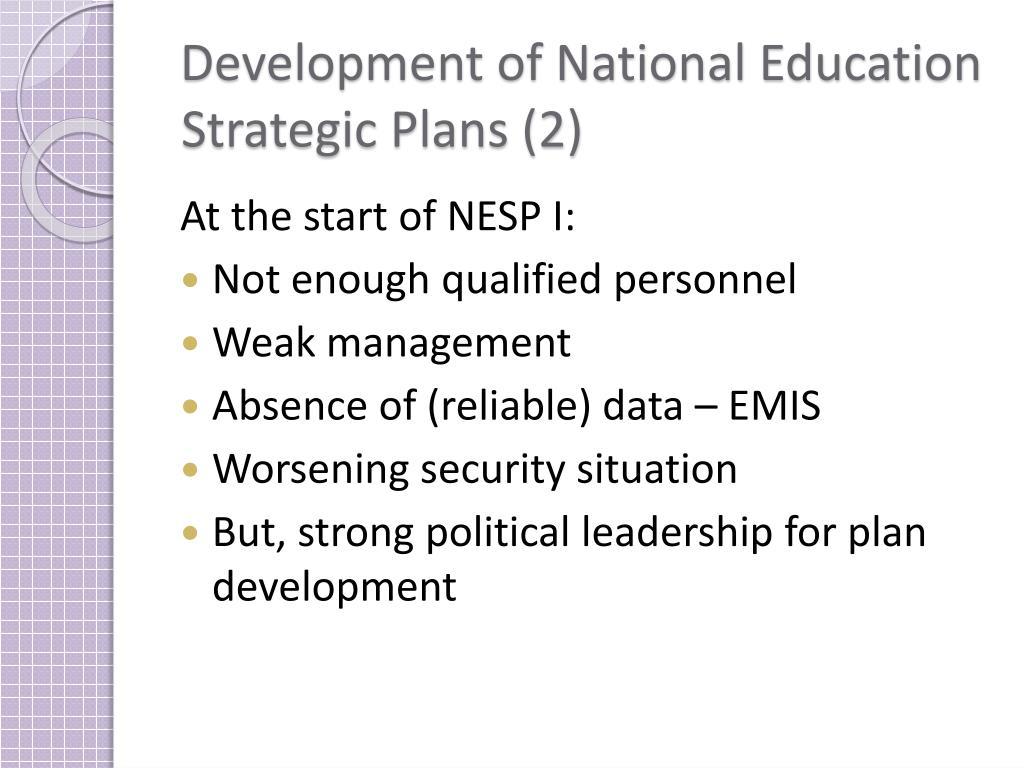 Development of National Education Strategic Plans (2)