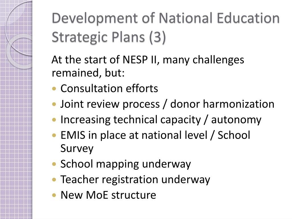 Development of National Education Strategic Plans (3)