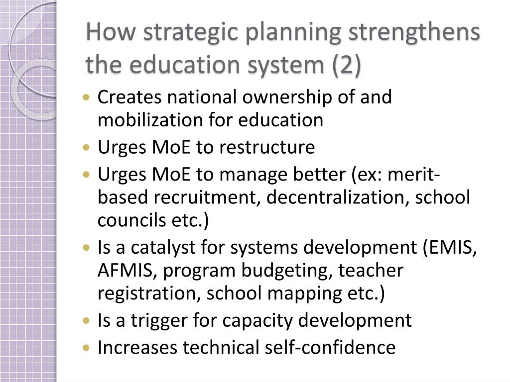 How strategic planning strengthens the education system (2)