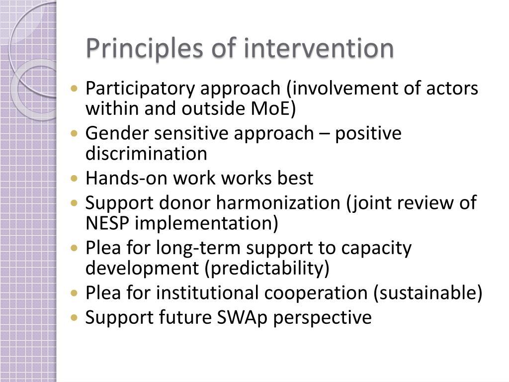 Principles of intervention