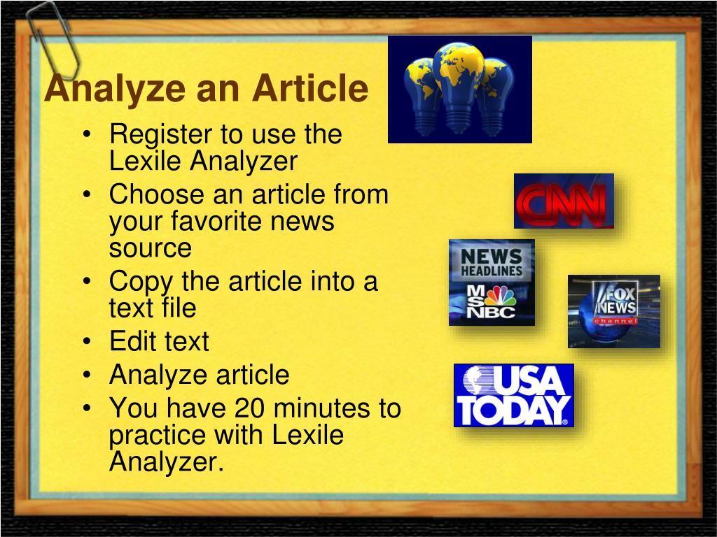 Analyze an Article