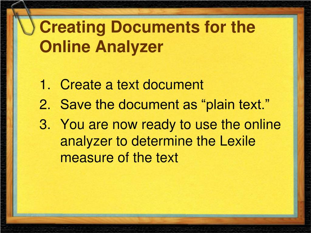 Creating Documents for the Online Analyzer