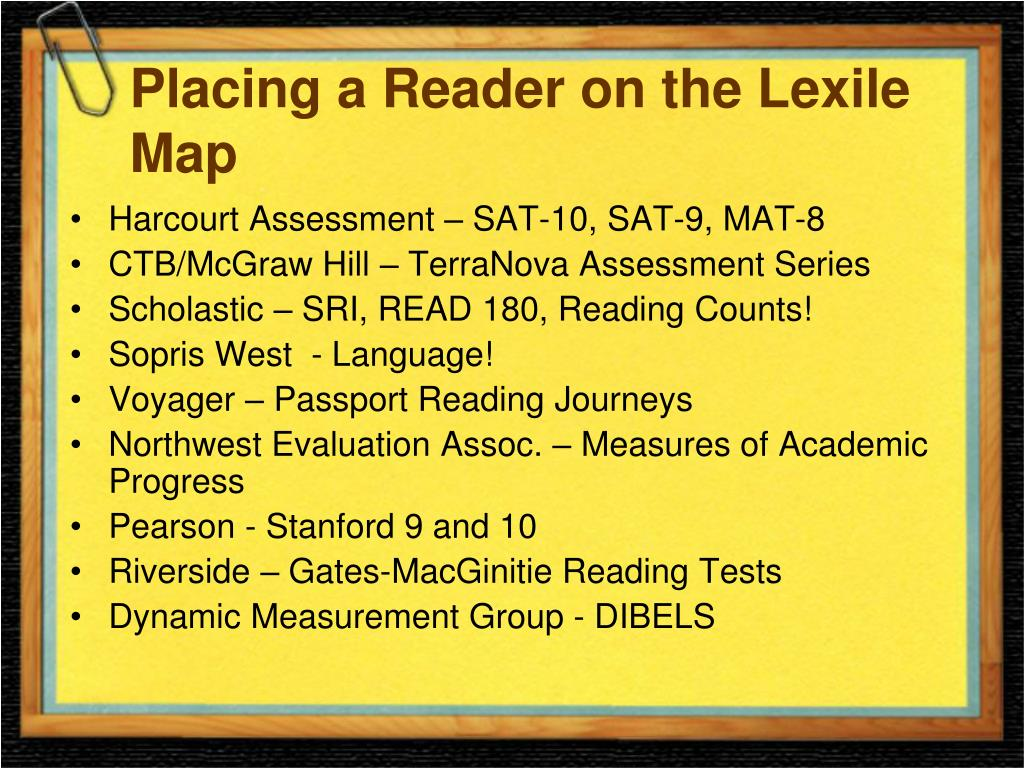 Placing a Reader on the Lexile Map
